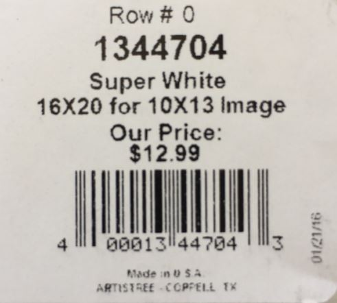 Price tag for my 10x13 photo mat from Aaron Brothers