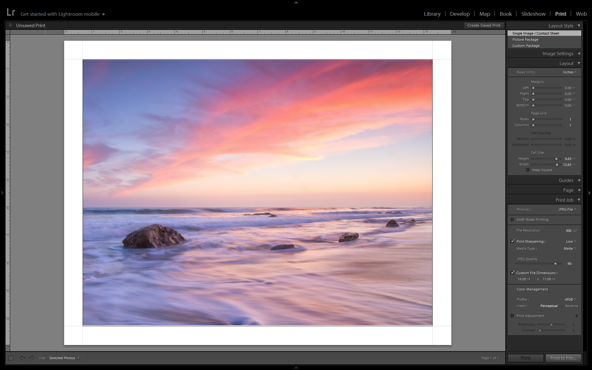 Screenshot of the print with border in Lightroom