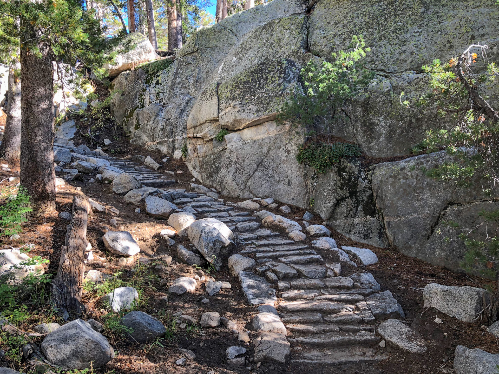 Stone steps on trail to Blue Lake