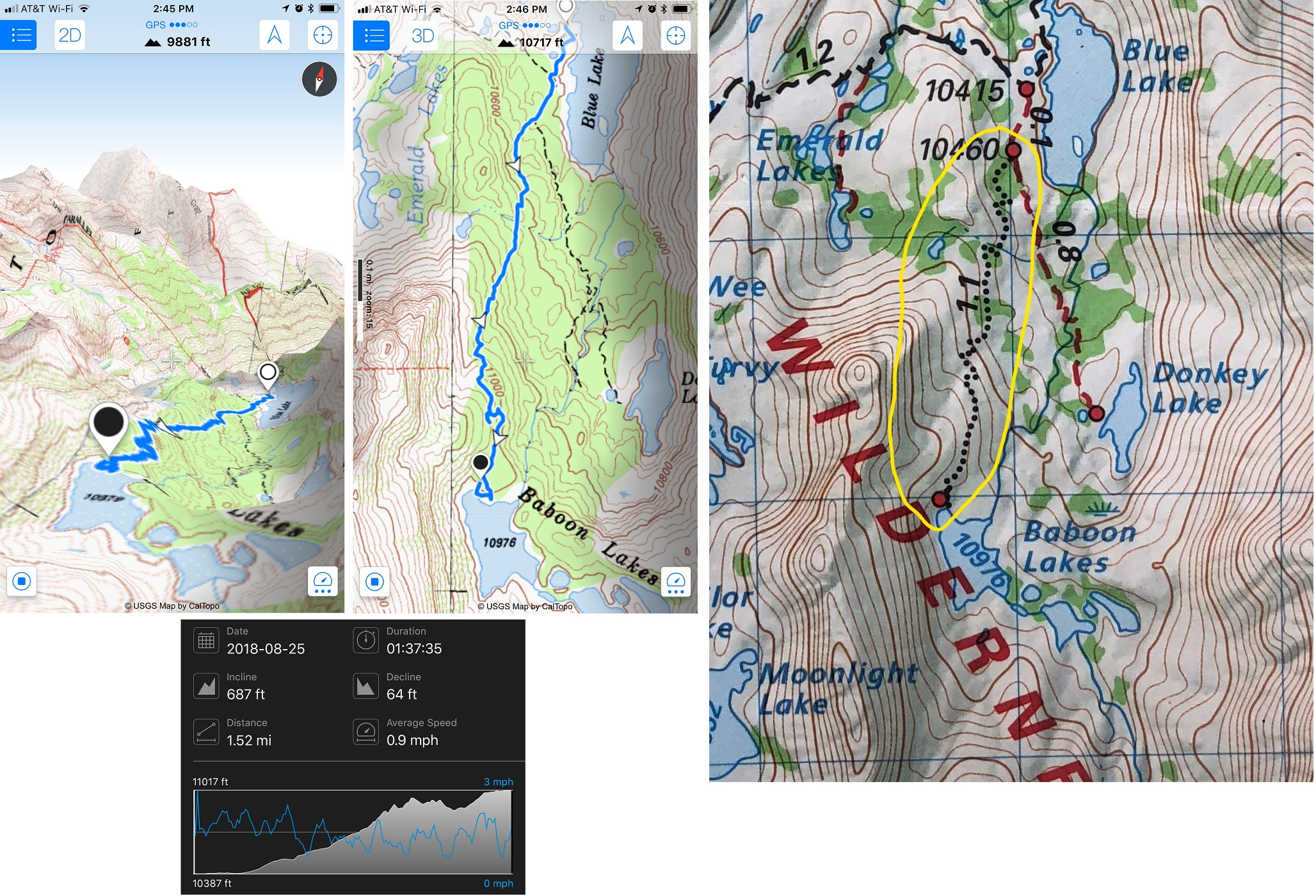 GPS data and map showing trail to Baboon Lakes