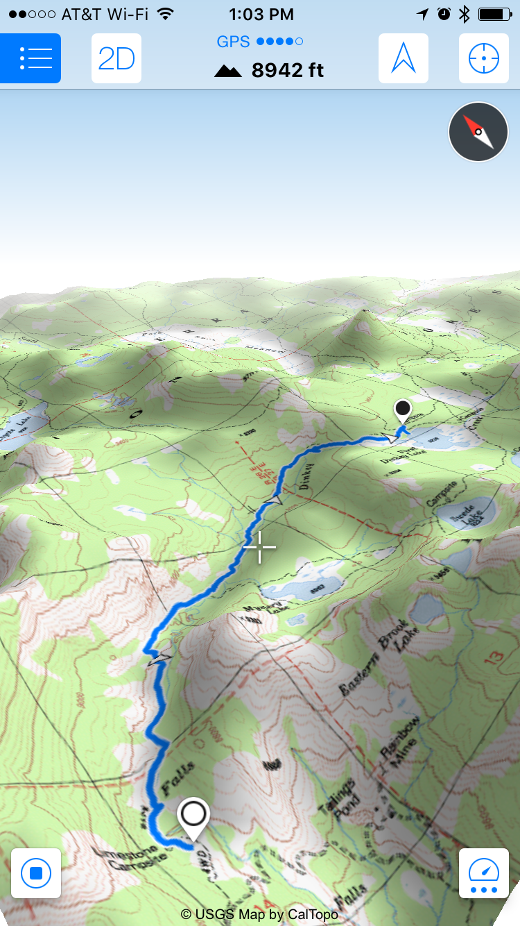 3D topo map of our fisrt hike