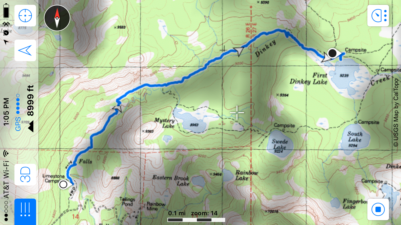 Map of hike to First Dinkey