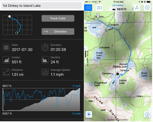 Stats and topo map of hike to Island Lake